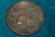 Bronzeplakette mit 2 Hunde